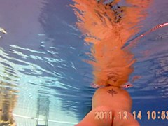 Amateur beauty is swimming nude on under water spy cam 3