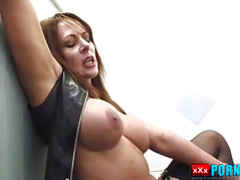 Mistress fucks in dirty toilets and makes sub clean creampie