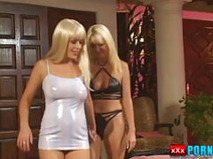 Blonde lesbians using their toys outdoors