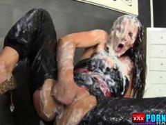 Classy slut face sprayed