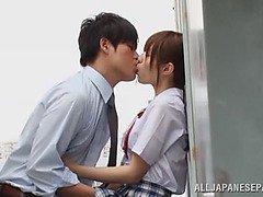 Rina Rukawa naughty Japanese teen in hot threesome