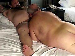 Mature fat man with nice tattoo riding