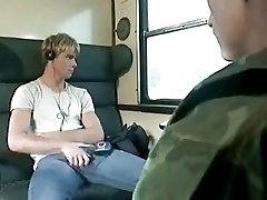 Military blonde and train
