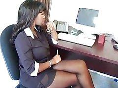 Ebony Secretary Fucks Guy