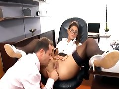 Pretty secretary fucked in stockings and a garter