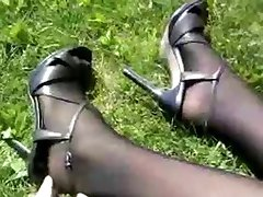 Nylon legs with high heels