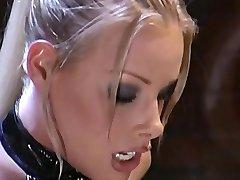 Blonde Model in latex fuck italian in bar