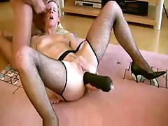 German MILF fucked with a huge dildo in pussy and ass