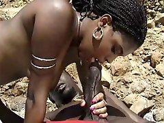 black milf with hairy pussy enjoy bbc at beach