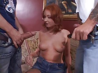 Redhead hottie in DP action