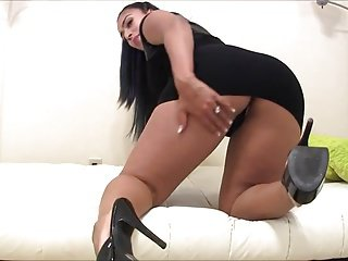 Brunette in black dress tight fuck