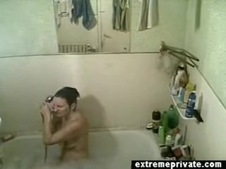 here showering Milf Mirela on spy camera