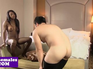 Black tgirl toesucked before assfucking