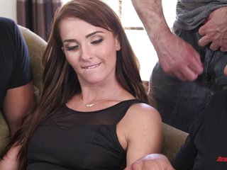 Two guys fuck her so hard she ends up covered in sweat