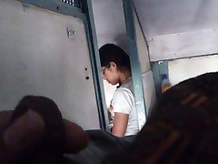masturbating and cum in train